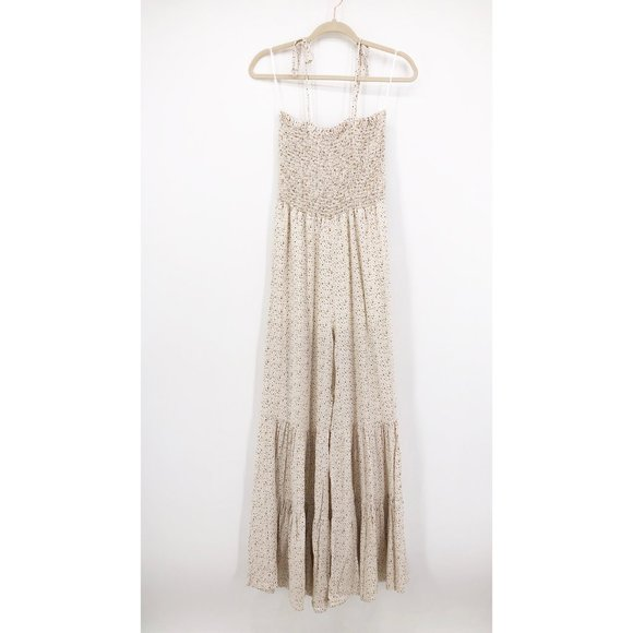 Lilyful Pants - Lilyful Jumpsuit Tie Strap Smocked Wide Leg Tiered